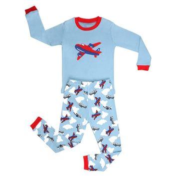 Elowel Pajamas Elowel Little Boys Blue Airplane Long Sleeve Cotton 2 Pc Pajama Set 3