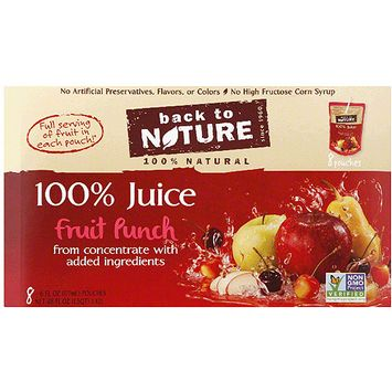Back to Nature 100% Fruit Punch Juice, 6 fl oz, 8 count, (Pack of 5)