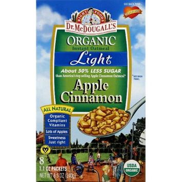 Dr. Mcdougall's Right Foods Dr. Mcdougalls Right Foods Organic Instant Oatmeal Light Apple Cinnamon 8-Count Boxes -Pack of 6