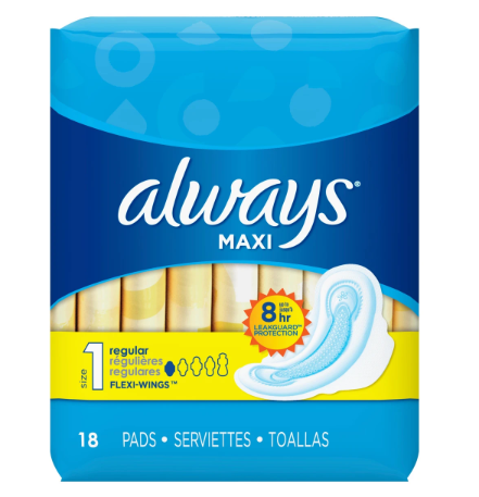 Always Maxi Size 1 Regular Pads with Wings, Unscented ...