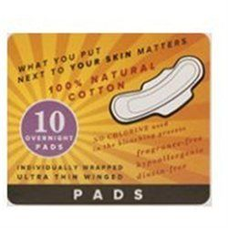 Emerita Natural Cotton Ultra Thin Overnight Pads with Wings - 10 Pads