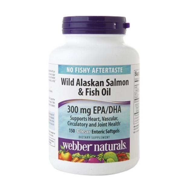 Webber Naturals Wild Alaskan Salmon Fish Oil 300mg, Softgels