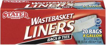 Stater bross & Ties 8 Gal Wastebasket Liners 20 Ct Box
