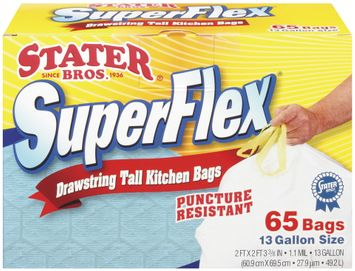 Stater Bros. Super Flex Drawstring Puncture Resistant 13 Gal Tall Kitchen Bags 65 Ct Box