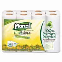 16466CT Marcal Small Steps Recycled Premium Bath Tissue - 2 Ply - 168 Sheets/Roll - 96 / Carton - 4.20
