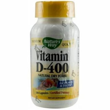 Nature's Way Vitamin D-400, Dry Form Capsules, 100 CT (Pack of 2)