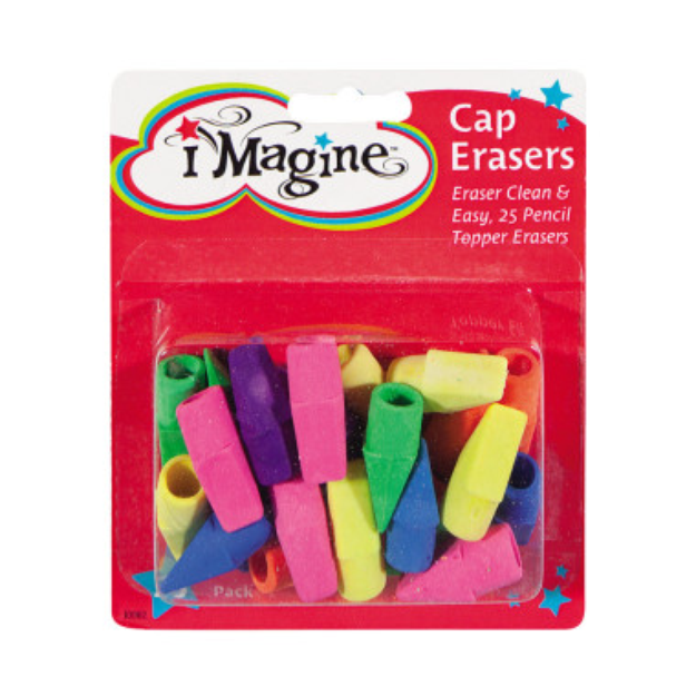 INC Imagine Erasers Caps - Assorted Colors, 25 ct