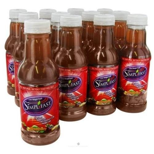 Simplifast Detox Fasting Beverage Strawberry (12 Pack) 16 Ounces