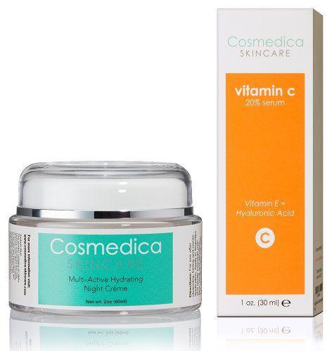 Vitamin C Serum 20% and Multi-Active Hydrating Night Cream - Facial Serum and Facial Moisturizer -Treatment Set