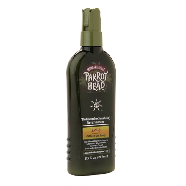 "Margaritaville Parrot Head ""Dedicated to Sunshine"" Tan Enhancer, Oil Free Gel Spray, SPF 8, 8.5 fl oz"
