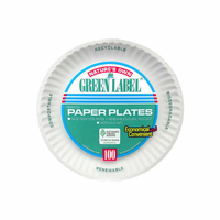 """Green Label White Paper Plate 9""""(Case of 12)"""