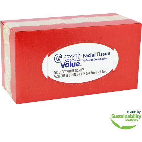 Great Value Facial Tissues, 200 sheets