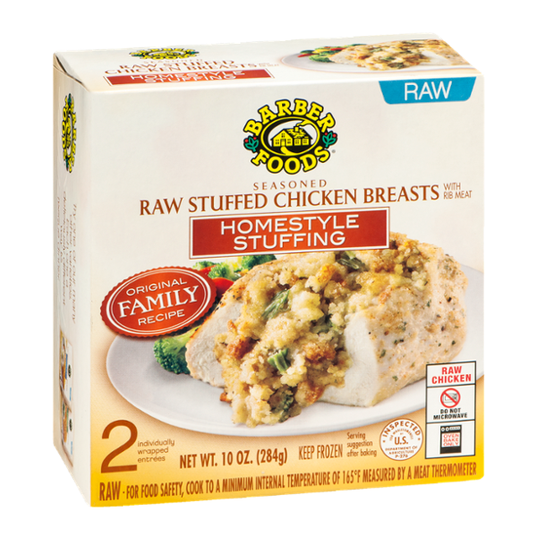 Barber Foods Raw Stuffed Chicken Breasts with Homestyle Stuffing - 2 CT