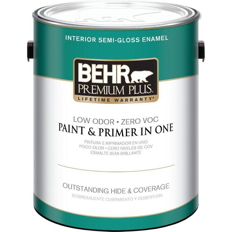 Interior Paint, Exterior Paint & Paint Samples: BEHR Premium Plus Paint 1-gal. Ultra Pure White Semi-Gloss Zero VOC Interior Paint 305001