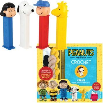 Closeoutzone (Set) PEANUTS PEZ Dispenser Charlie Brown - 4 Dispensers & Crochet Kit Book