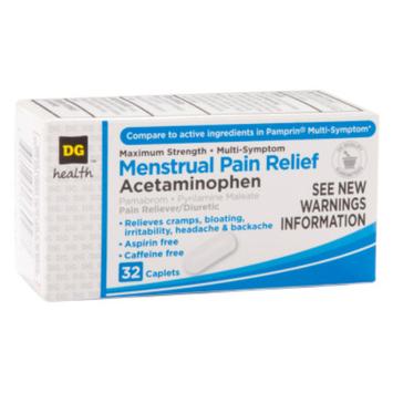 DG Health Menstrual Pain Relief - Acetaminophen Caplets, 32 ct