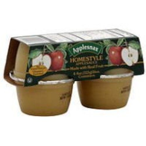 Applesnax Homestyle Apple Sauce Cups, 4 OZ (Case of 12)