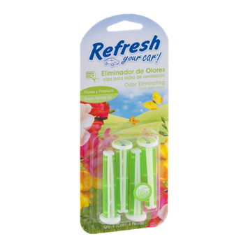 Refresh Your Car! Odor Eliminating Auto Vent Sticks Fresh Spring Air - 4 CT