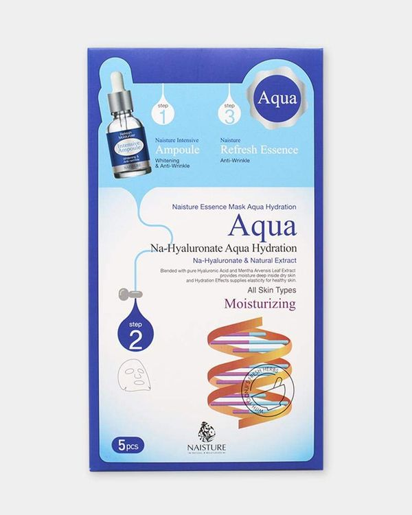 Naisture Aqua Essence 3-step Facial Mask (5 Sheets) Moisturizing Natural Extract