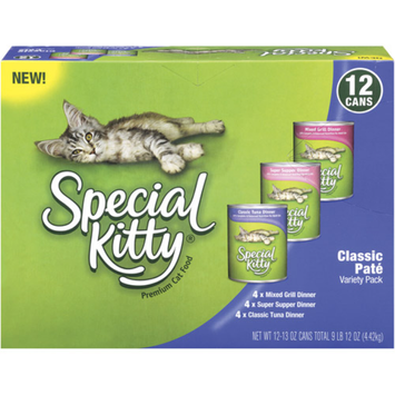 Special Kitty Classic Pate Variety Pack Wet Cat Food, 13-Ounce Cans (Pack of 12)