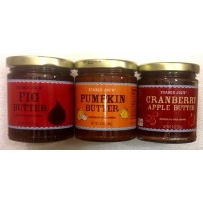 Trader Joes Variety Pack - : 1) Fig Butter - 11oz.; 2) Pumpkin Butter - 10oz.; 3) Cranberry Apple Butter - 9oz. (Total 3 Jars)