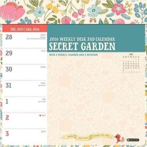 Secret Garden Weekly Desk Pad 2016 Calendar