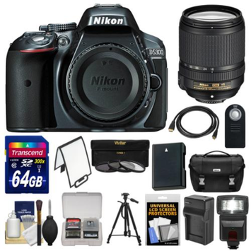 Nikon D5300 Digital SLR Camera Body (Grey) with 18-140mm VR Zoom Lens + 64GB Card + Case + Flash + Battery & Charger + Tripod Kit