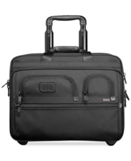 Tumi - Alpha Travel & Business Tumi Alpha Travel and Business Deluxe Wheeled Brief with Laptop Case - Black
