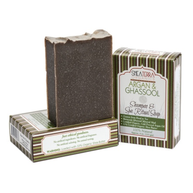 Shea Terra Organics Argan & Ghassool Shampoo + Spa Body Bar