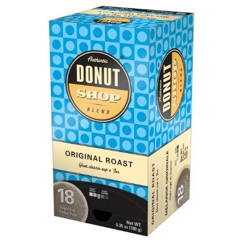 Reunion Island RI58011 Authentic Donut Shop Original Blend Single Cup Coffee Pods, 18-Count