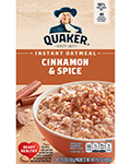 Quaker Instant Oatmeal Cinnamon Spice