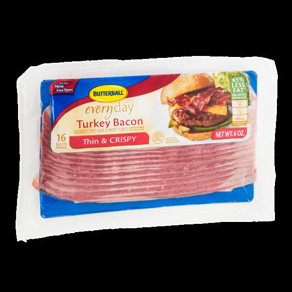 Butterball Everyday Turkey Bacon Thin & Crispy Smoked Cured Dark & White Turkey Bacon - 16 CT