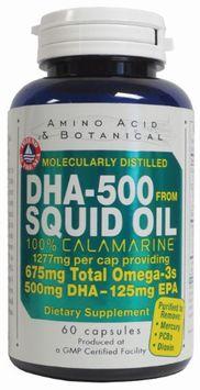 DHA 500 Squid Oil 1277 mg 60 caps by Amino Acid & Botanical