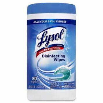Disinfecting Wipes, 80 Wipes/Tub, 6/CT, Ocean Fresh RAC77925CT