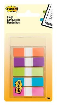 Post-it® Flags, Assorted Bright Colors, .5 in. Wide, 100 Flags/On-the-Go Dispenser