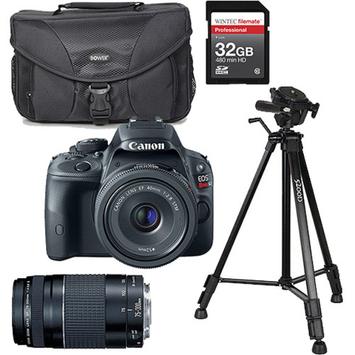 Canon Black EOS Rebel SL1 World's Smallest Digital SLR Camera, Includes 18-55mm Lens with Additional Lens, Memory Card, Bag and Tripod Value Bundle