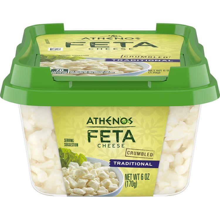 Athenos Feta Cheese Crumbles, Traditional Feta Cheese, 6 oz Tub