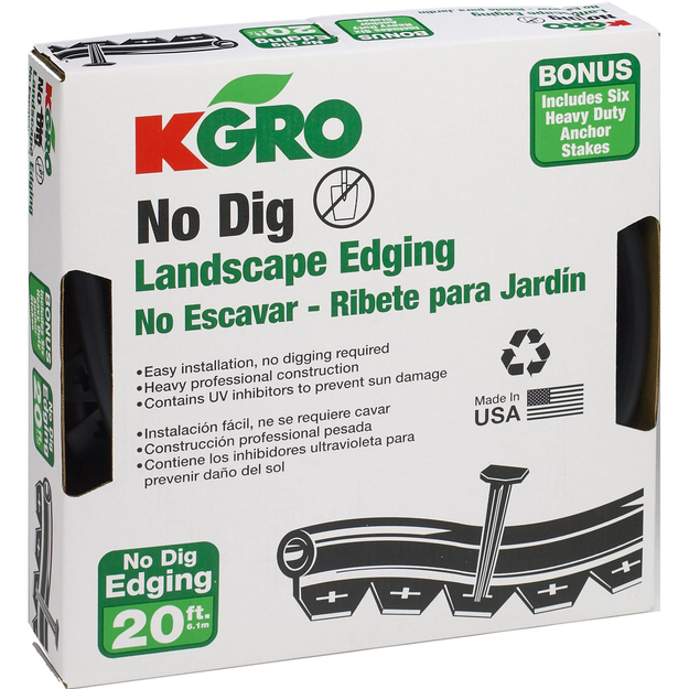 Valley View Specialties Co. Kgro No Dig 20' Landscape Edging - Includes 6 Anchor Stakes