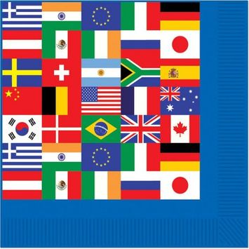 Beistle 58172 International Flag Beverage Napkins Pack of 12