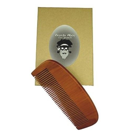 Beards Ahoy! Captain Jack's Beard and Hair Comb - Natural Pear Wood High Quality Men's Pocket Comb for Beard and Mustache - Eliminates tangle, frizz, and static -