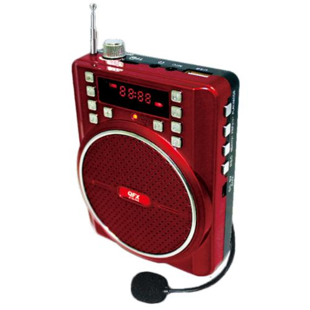 QFX Portable Battery Powered PA Speaker- Red