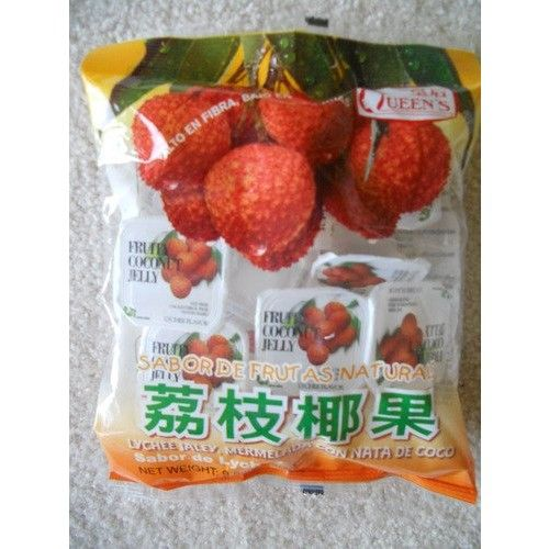 Lychee Jelly, Fruity Coconut Jelly by Queens - 9.8 oz / 280 g - Product of Taiwan