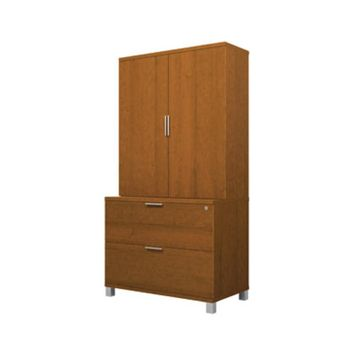 Bestar Pro-Linea Assembled Lateral File & Cabinet, Cognac Cherry