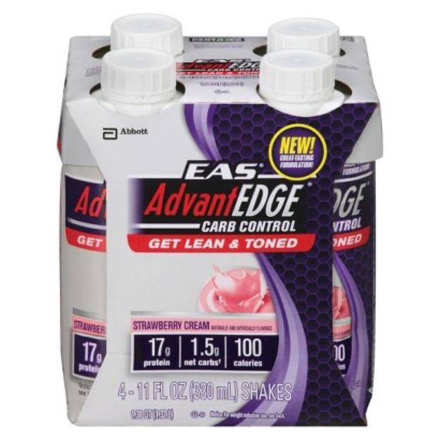 EAS AdvantEDGE Carb Control Strawberry Cream Protein Shake - 4 Count