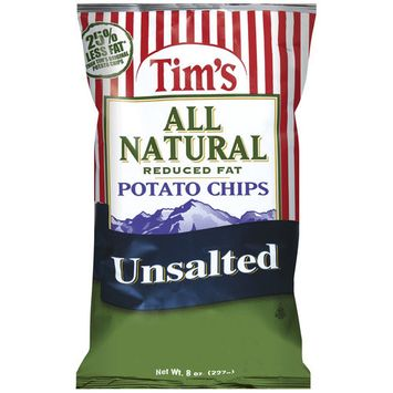 Tim's All Natural Reduced Fat Unsalted Potato Chips, 8 oz