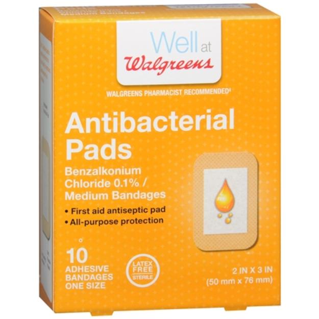 Walgreens Antibacterial Pads Adhesive Bandages, 10 ea
