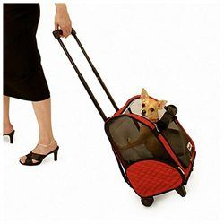 Hunter K9 Designs 86101 Small Red Wheel Around Pet Carrier