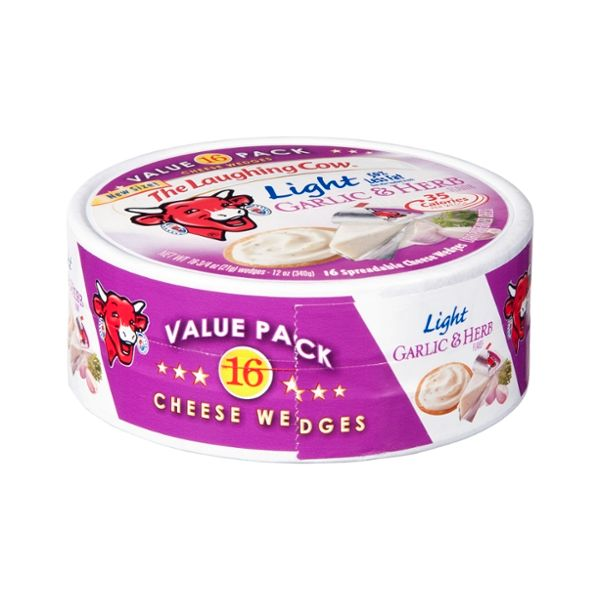 The Laughing Cow Light Garlic & Herb Cheese Wedges Value Pack - 16 CT