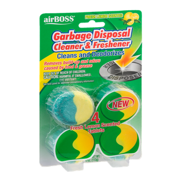airBOSS Garbage Disposal Cleaner & Freshener Fresh Lemon Scented - 4 CT