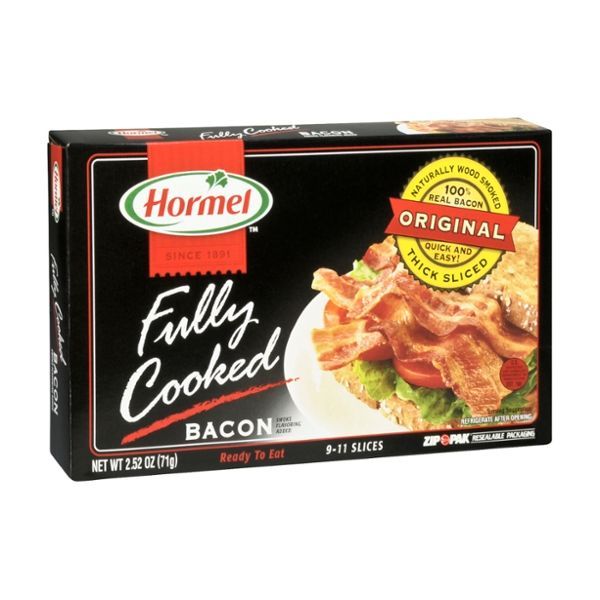 Hormel Fully Cooked Naturally Wood Smoked Thick Sliced Bacon